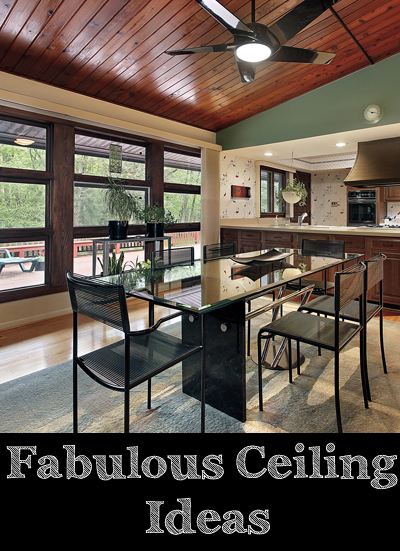 Dining room with cherry wood ceiling panels