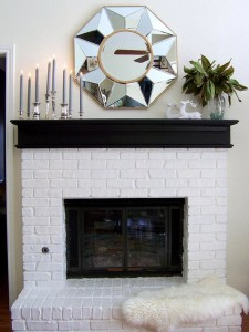 mantel old brick painted white