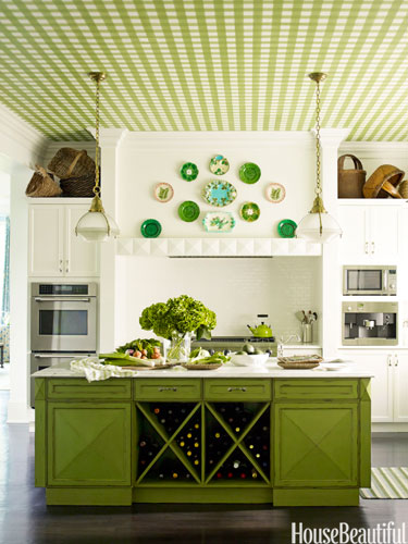 ceilings green gingham