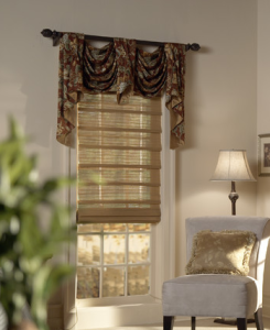woven woods with valance