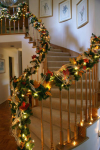 Banister decorated for fall-Christmas