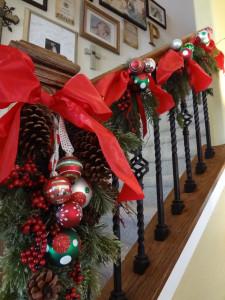 banister red Christmas