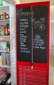 pantry door red shutter chalkboard