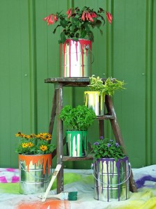 container gardening paint cans for pin